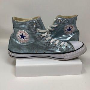 Metallic Light blue Converse All Stars High top